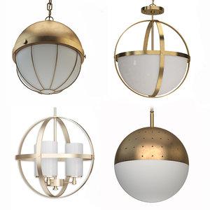3D modern chandeliers woud gull