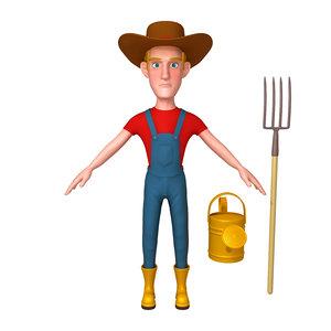 3D model farmer cartoon 02