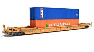 railroad double stack car 3D model
