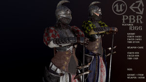 3D knight pbr weapons