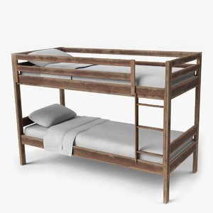 3D old wood bunkbed