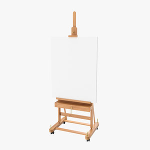 studio easel clean canvas 3D model