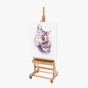 studio easel canvas artwork 3D model