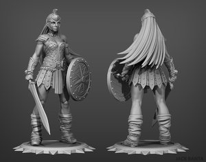 3D model printed female gladiator