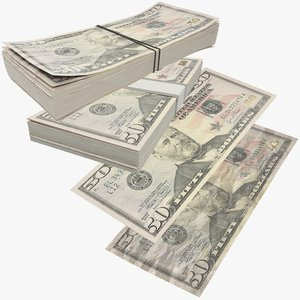 3D fifty dollars bills banknotes model
