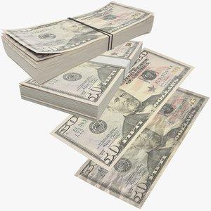 3D fifty dollars bills banknotes model