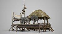 Vietnamese ancient architecture fisherman's Pavilion fishing net