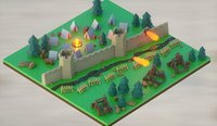 Isometric low-poly medieval castle wall