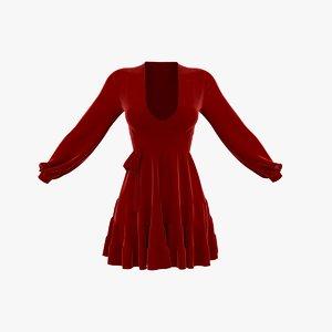 red summer dress 3D