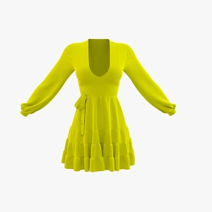 3D model yellow summer dress