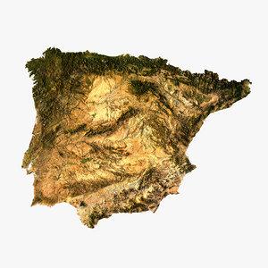 3d relief iberian peninsula model
