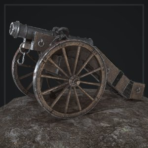 cannon 18th century 3D model