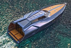 3D yacht transportation boat