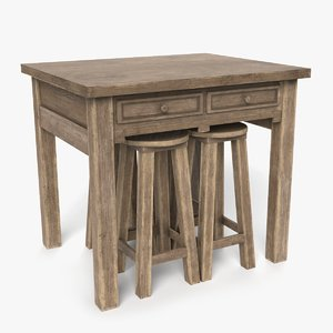 old bar table 3D model