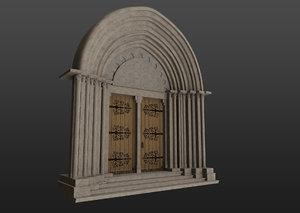 3D medieval church gothic portal