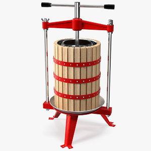wooden frame fruit wine 3D model