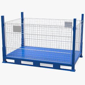3D collapsible mesh metal pallet model