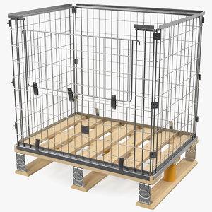 mesh cage epal euro pallet 3D