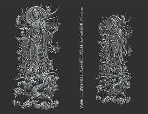 kwanyin bodhisattva dragon 3D model