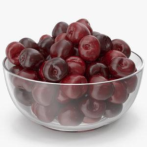 3D cherries glass plate v