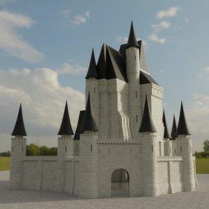 3D white fantasy castle model