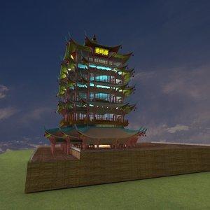 chinese tower yellow crane 3D