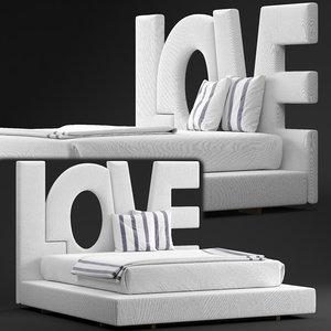 love bed erba italia 3D model