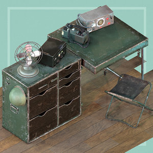 3D 2 desk setup model