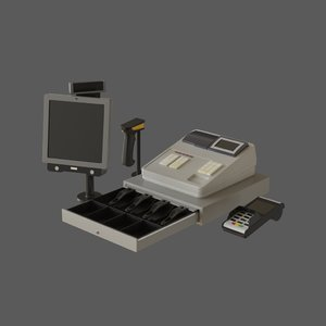 3D model commercial cash register set