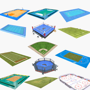 3D sport fields boxing model