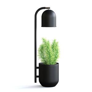 3D black desk lamp plant