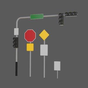 3D traffic set octane model