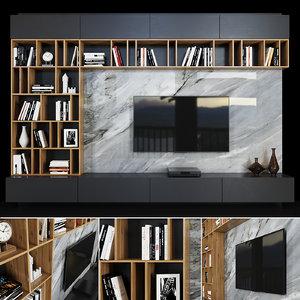 tv decor books 3D model