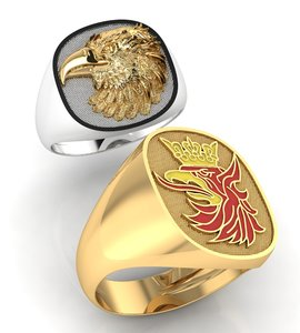 3D mens ring eagle head model