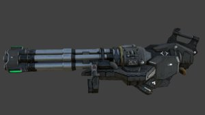 sci-fi chaingun minigun modeled 3D model