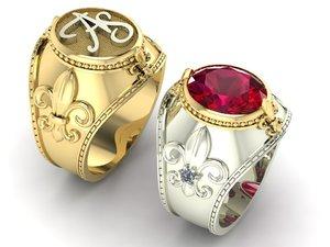 3D signet ring royal lily