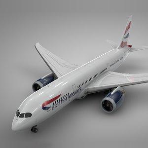 3D model boeing 787 dreamliner british airways