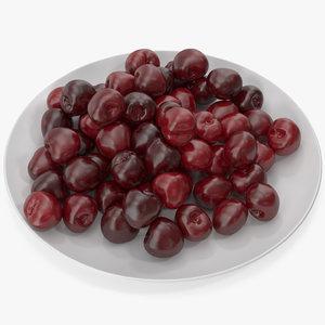3D cherries plate v 2