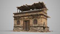 Single house of ancient Asian mud brick