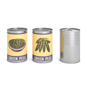3D green peas metal cans