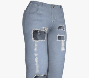 blue ripped jeans women 3D model
