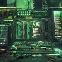 Cyberpunk Hacking Workspace