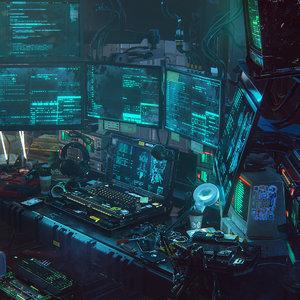 3D futuristic cyberpunk hacker redshift