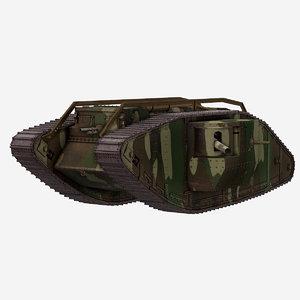 3D war tank male pbr