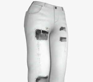 white ripped jeans women 3D model