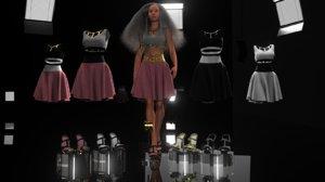 rigged female dress skirt 3D model