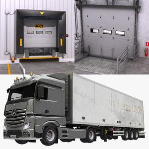 3D warehouse door box trailer
