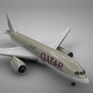 boeing 787 dreamliner qatar 3D model