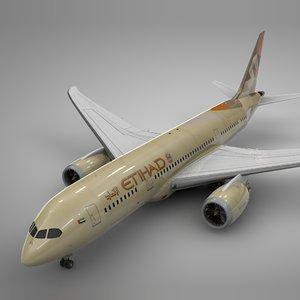 3D model boeing 787 dreamliner etihad