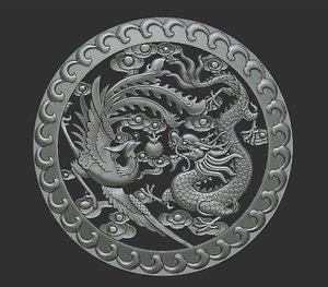 dragon pendant relief 3D model